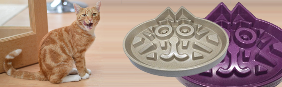 Eco-friendly Durable Non Toxic Bamboo Fiber - Slow Feed Cat or Dog Bowl Slow Down Eating Beige//Ivory