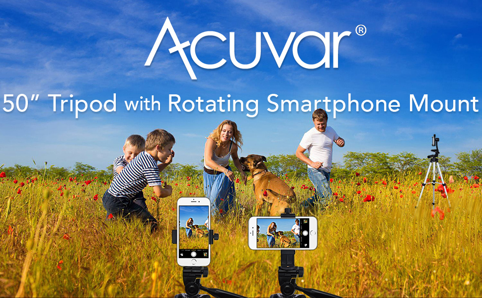 Family in field playing around while 50 inch Acuvar tripod and rotating mount capturing moment
