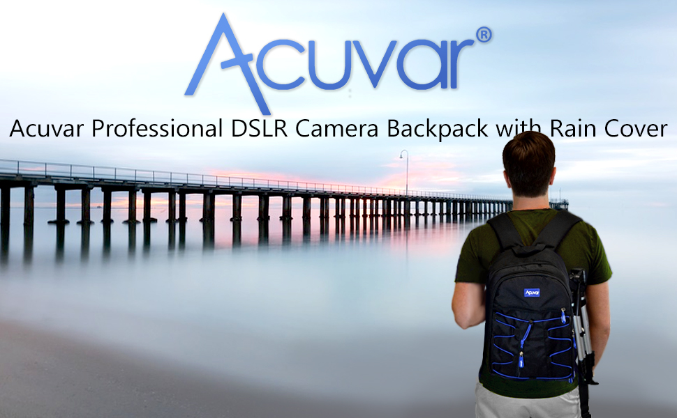 Man stainding over cloudy beach wearing Acuvar Backpack with camera gear Acuvar Pro Camera Backpack