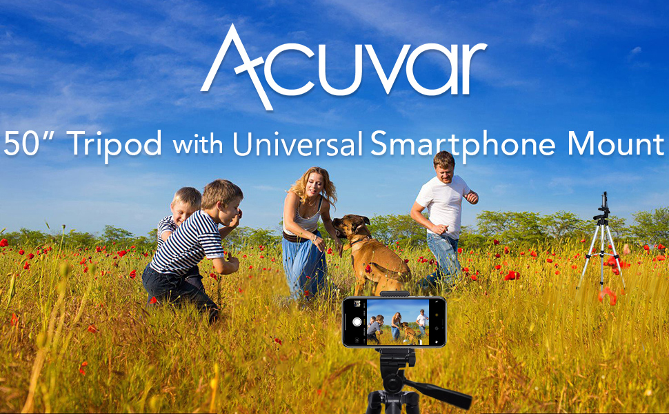 Family in field playing around while 50 inch Acuvar tripod and smartphone mount capturing
