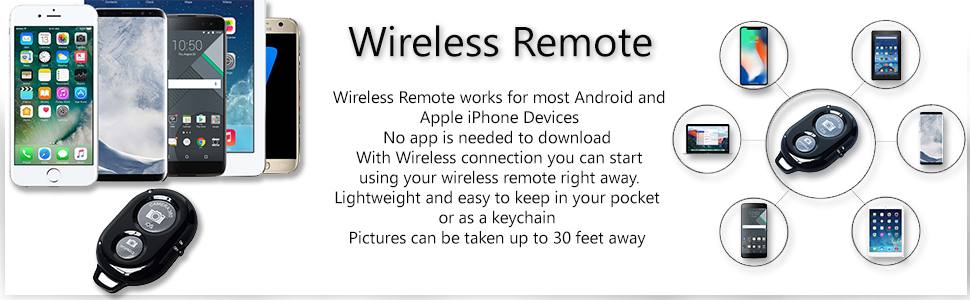 Wireless Remote works with most devices. no app needed to use. simply switch on, pair, and capture