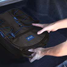 Acuvar backpack stored in trunk