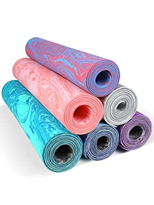 AIMERDAY Non Slip Yoga Mat Eco Friendly TPE Exercise Mat Premium Print 1/4 Inch Thick High Density Lightweight Pilates Mat with Carrying Strap for ...