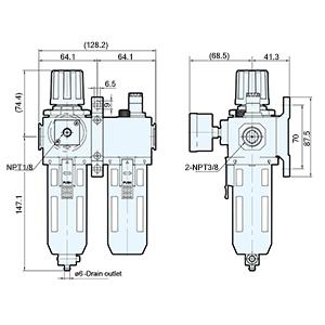"""Regulador de aire Mindman 3//8/"""" Rosca Manual de agua de drenaje MACP 300-10A"""