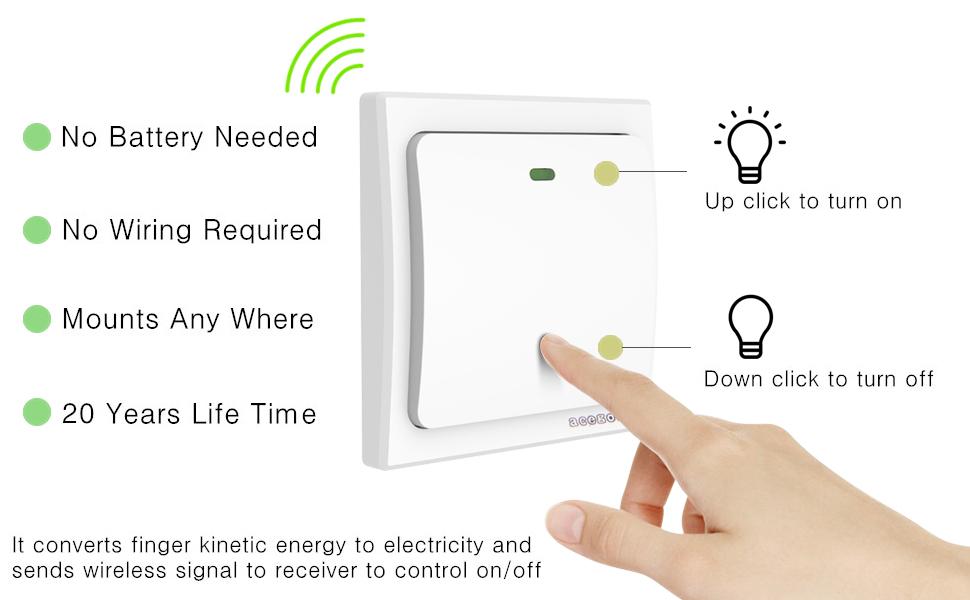 Superb Acegoo Kinetic Light Switch Self Powered Transmitter No Wiring No Wiring 101 Hemtstreekradiomeanderfmnl