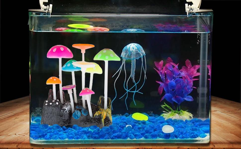Govine aquarium decorations glowing effect for Fish tank decorations amazon