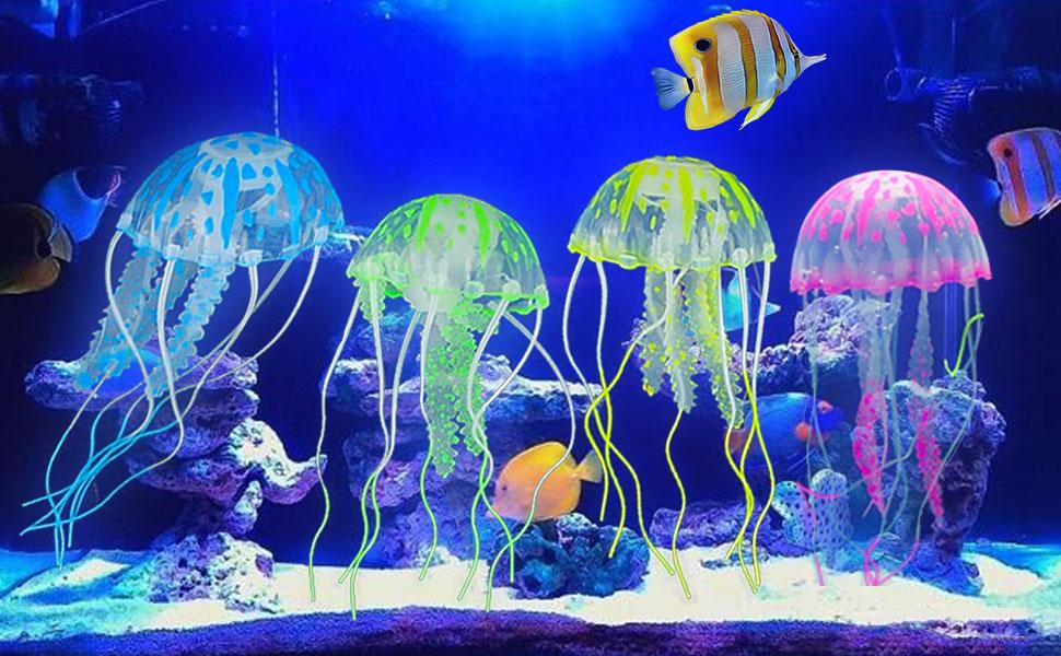 amazon com glowing jellyfish 6pcs glowing jellyfish aquarium