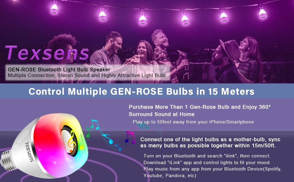 LED Bluetooth Light Bulb Speaker, Texsens Multi-Connected Music Bulbs, 8W  E26 RGB + Warm White Color Changing Lamp with APP Control - Play Music