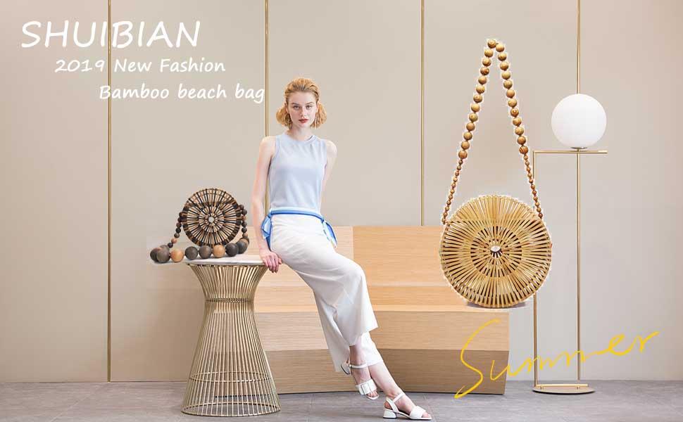 SHUIBIAN Bamboo Handbag Handmade Beach Crossbody Shoulder Round Bag for Women