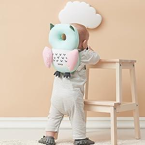 Bebamour Baby-Kopfschutz Weiches und atmungsaktives Baby-Kopfst/ützkissen Kopfst/ützkissen gegen Absturz Hellgelb