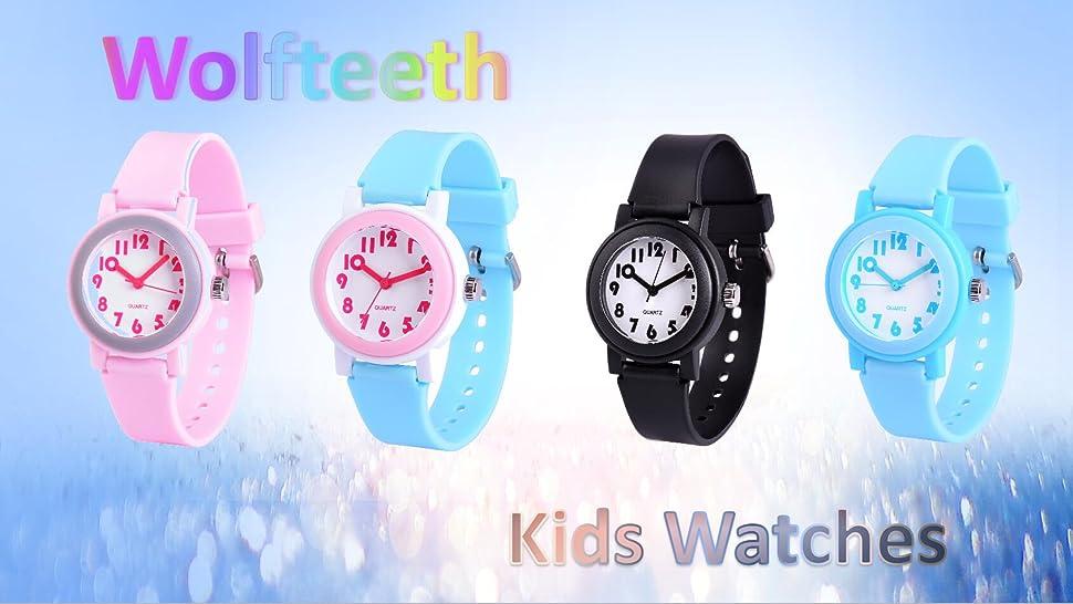 Amazon.com: Wolfteeth Analog Grade School Girls Kids Wrist Watch ...