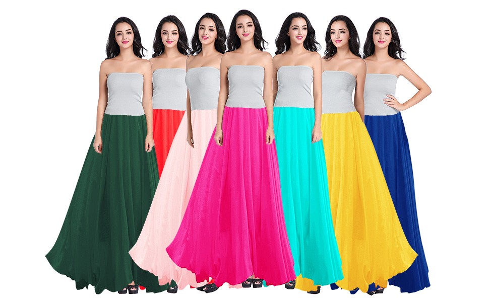 7194538102 Women Maxi Skirt Made of 3 Layers of different Length Sheer Chiffon Great  for Daily / Dance wear ...