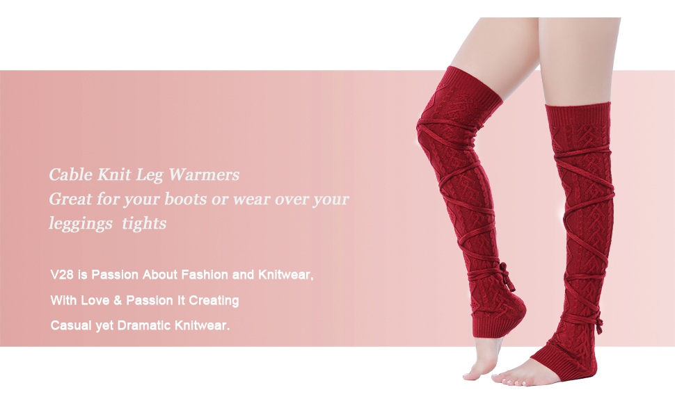240ede92219 V28 Women Over Knee Cable Knit Ribbed Crochet Long Boot Leg Warmers