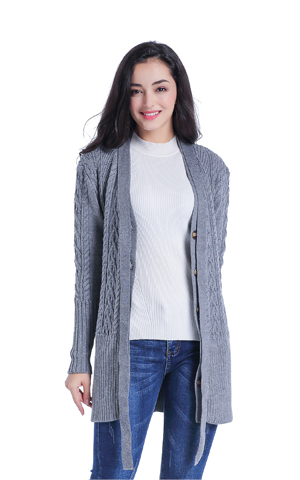 8501da0fe648f6 v28 Women Cable Knitted Long Sleeves Open Front Belt Chunky .