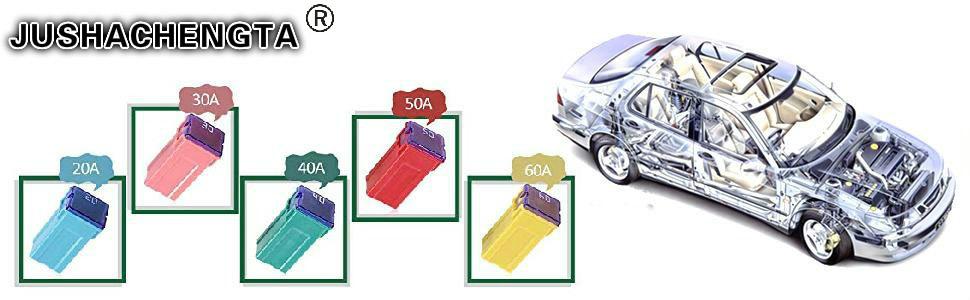 Assortiment de fusibles automobiles /à profil bas adapt/é pour prot/éger voiture moto KingBra Lot de 10 fusibles Jcase 20 A carr/és femelles en forme de bo/îte