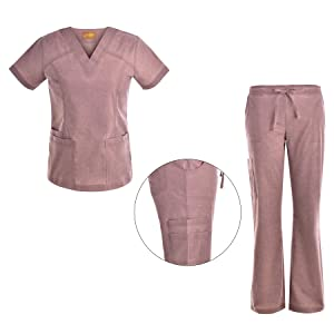 eb562845eeb Amazon.com: V Neck Stretch Women Scrubs Set - Multiple Pockets Women ...