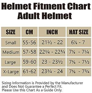 impact helmet size chart