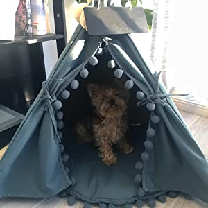 dog teepee, dog tent, dog bed, dog furniture, small dog, camping, home, office, yard, indoor, outdoor