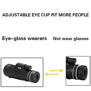 The monocular has adjustable eye cups