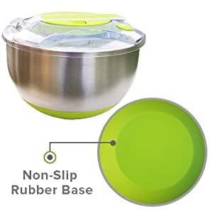 STAINLESS STEEL SALAD SPINNER Non-Slip Rubber Base