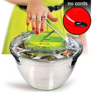 STAINLESS STEEL SALAD SPINNER Comfortable Push Lever Mechanism