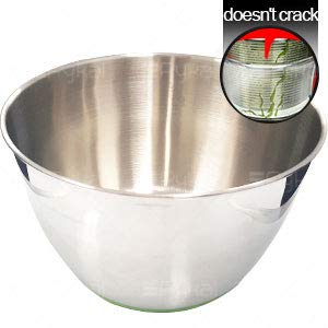 STAINLESS STEEL SALAD SPINNER Heavy Duty Rust Resistant Stainless Steel Salad Bowl