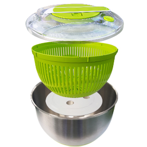 STAINLESS STEEL SALAD SPINNER Easy Assembly