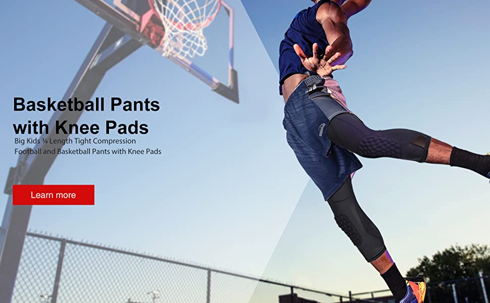 Amazon Com Coolomg Basketball Pants With Knee Pads For Kids Youth 3 4 Capri Compression Tights Leggings Clothing