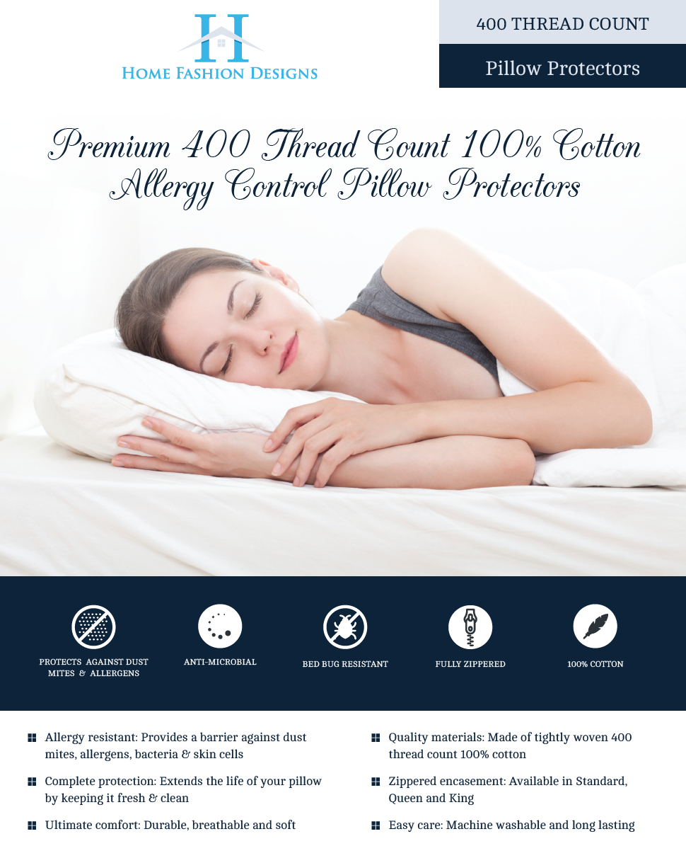 """DeMite Pillow Protectors 4-Pack Control Your Allergies with Hypoallergenic Pillowcase 100/% Cotton Allergy Barrier Pillow Cover for Bed Bug Protection Standard Size - 21/"""" x 27/"""" - 400 Thread Count"""