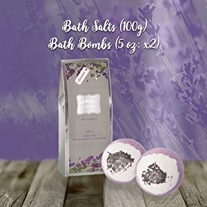 bath salt bath bombs lavender soothing relaxing at home spa kit massage birthday gift graduation toy
