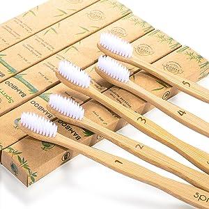 Bambooo Cepillos de dientes de bamb/ú sin BPA pl/ástico 100/% biodegradable de madera reciclado embalaje paquete familiar valor 5 unidades natural antibacteriano medio suave cerdas veganas org/ánicas