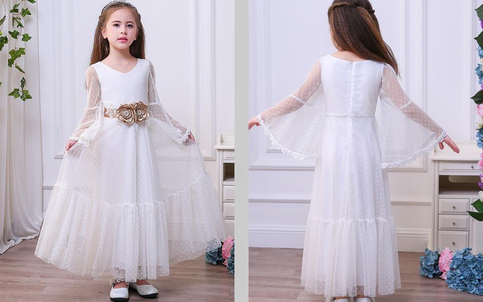 89c5e70c7d Amazon.com  Sittingley Boho-Chic Flower Girl Dress Lace First ...