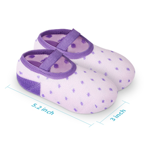 The size of this baby socks is 5.2 inch length and 3 inch width.