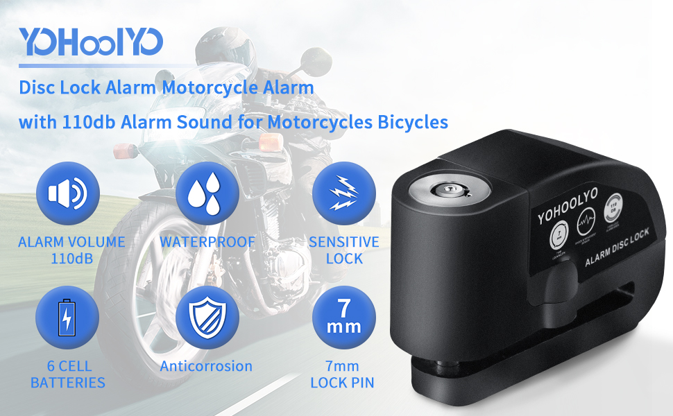 New YOHOOLYO Disc Lock Alarm Motorcycle Alarm Padlock with 110db Alarm Sound ..