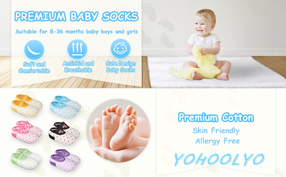 YOHOOLYO baby socks for boys and girls with 6 stylish color.Anti slip socks with grips
