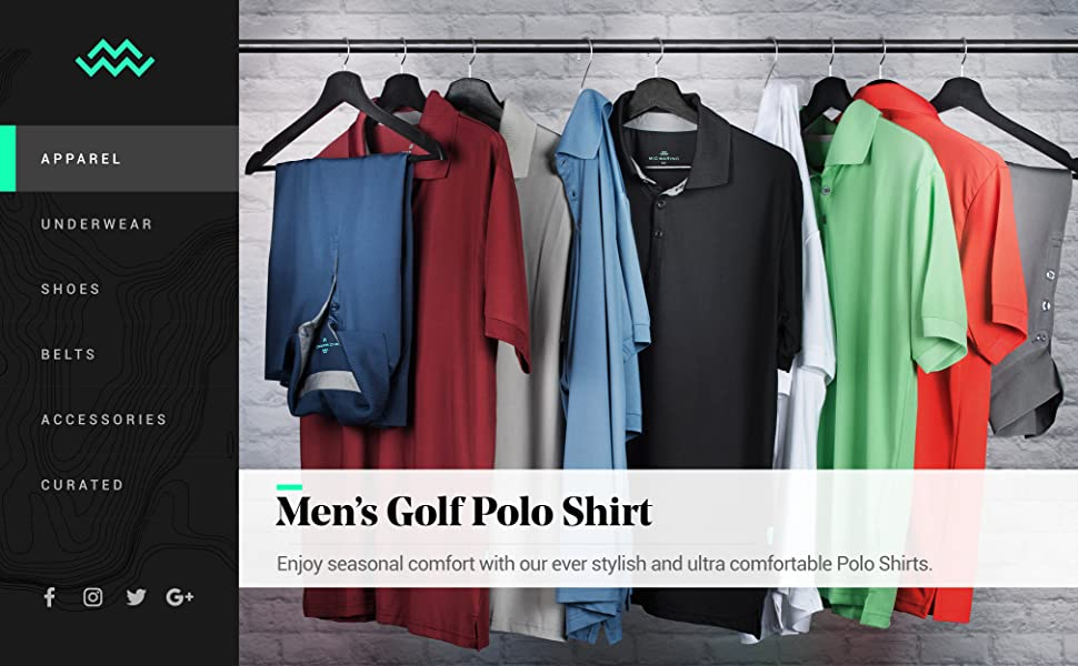 Mio Marino Golf Polo Shirts for Men - Regular-fit Quick-Dry Mens Athletic Shirts