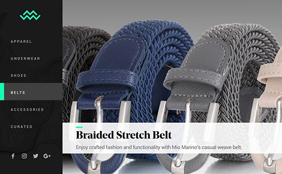 Marino Braided Stretch Belt - Fabric Woven Belt - Casual Weave Elastic Belt for Men and Women