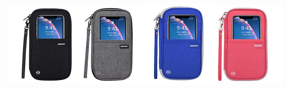 Defway Passport Wallet RFID Blocking Travel Organizer Bag, Family Passport Holder with ID Window