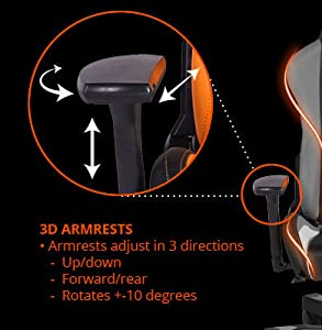 3D Armrests Armrests adjust in 3 directions o Up/down o Forward/rear o Rotates +-10 degrees