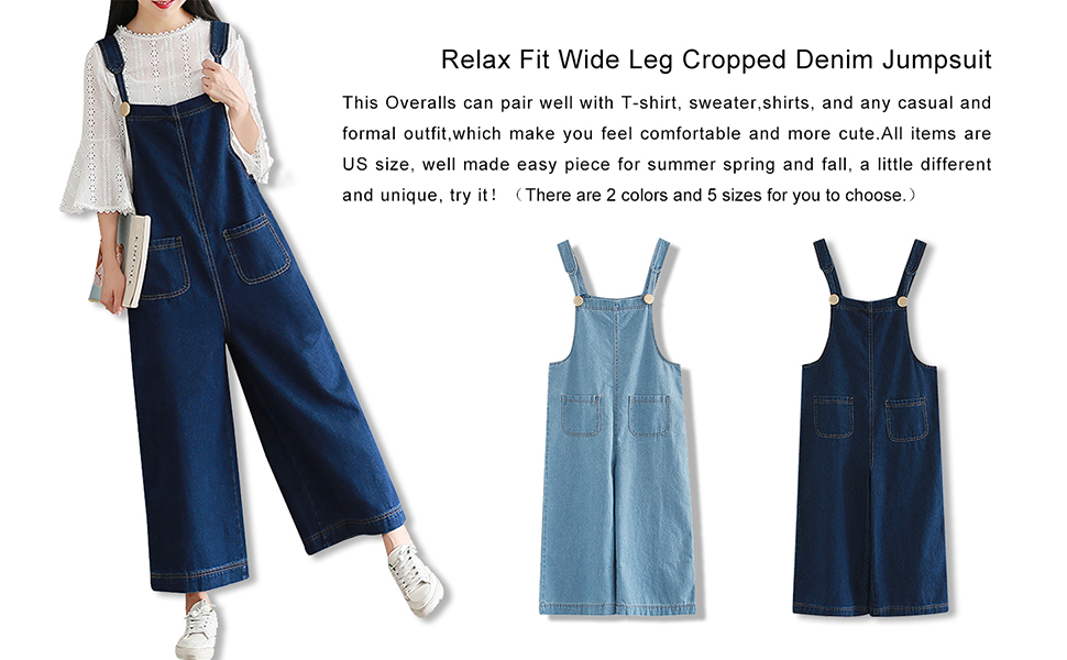 462cc441a784 Women s Loose Baggy Wide Leg Cropped Denim Jumpsuit Rompers Overalls Pant