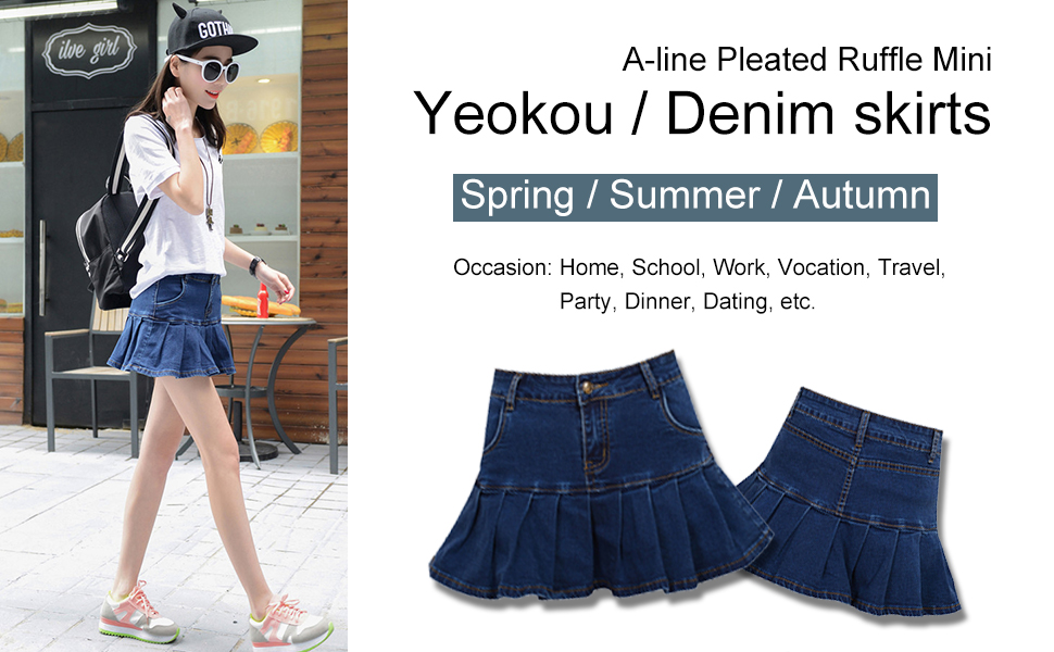 cc1b8a4741 Yeokou Women's Casual Slim A-line Pleated Ruffle Short Mini Denim Skirts  Skorts