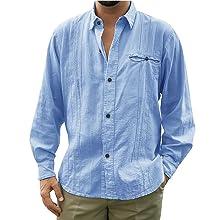 Makkrom Mens Linen Shirts Guayabera Short Sleeve Casual Button Down Cuban Camp Shirts