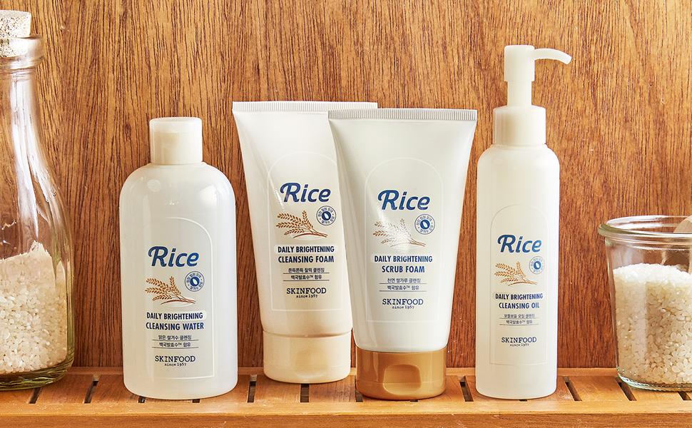 Korean Cosmetics SKINFOOD Rice Daily Brightening Scrub Foam (150ml) |  Lazada PH