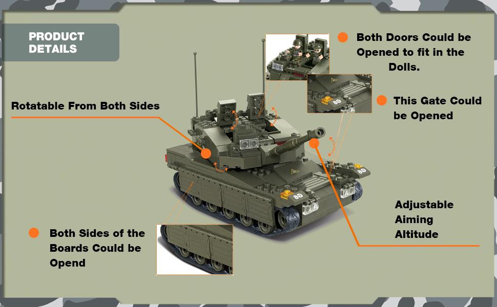 SLUBAN M38-B0305 Ejército Tanque Merkava con 5 Mini Figuras 344 piezas