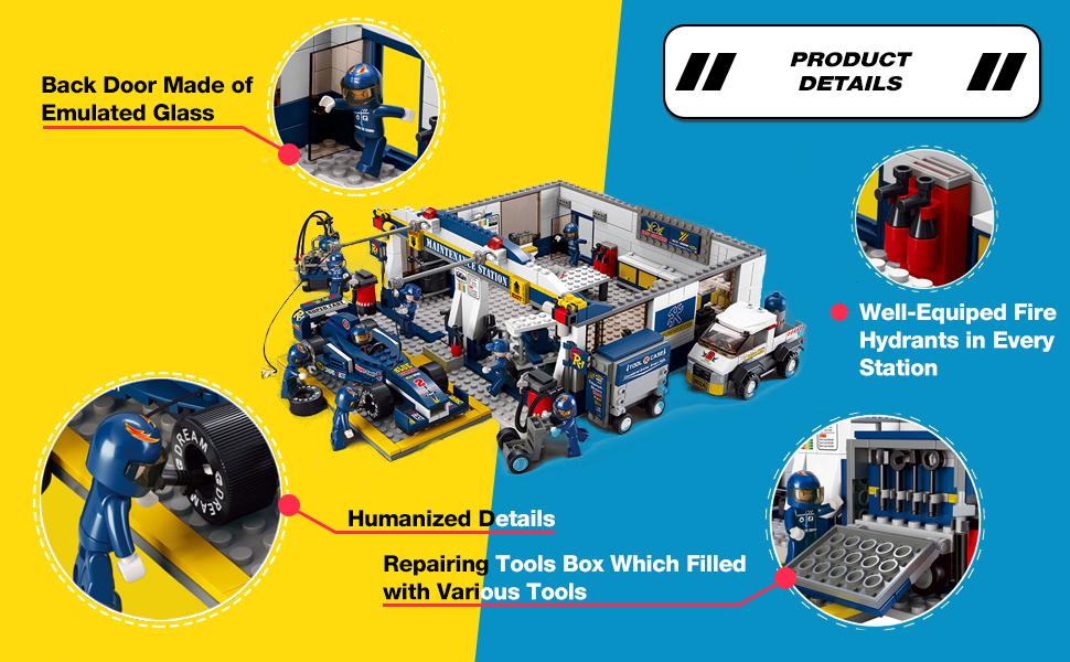 Sluban Formula Racing Car Repair Station DIY Building Block Assembled 013