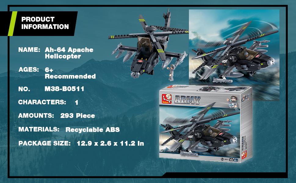 JEU DE CONSTRUCTION COMPATIBLE LEGO SLUBAN ARMY HELICOPTERE APACHE M38-B0511 PIL