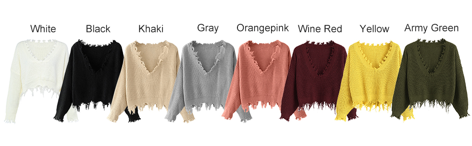 ZAFUL Women's Solid V Neck Loose Sweater