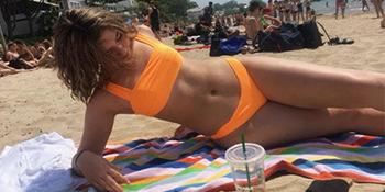 orange bandeau bikini