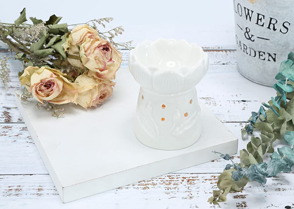HOME SMILE Ceramic Lotus Tea Light Candle Holder with Candle Spoon-Essential Oil Burner