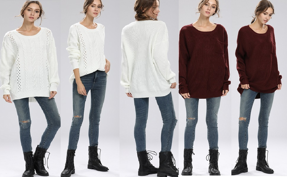 Image result for Alinfu Women's Casual Unbalanced Crew Neck Knit Sweater Loose Pullover Cardigan